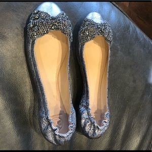 Tory Burch Flats Silver with bow